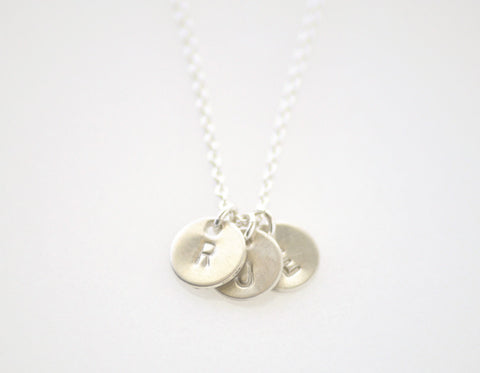 Teeny tiny initial 3 disc necklace - silver