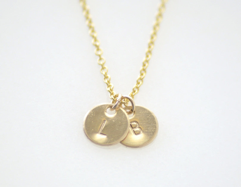 Tiny double initial necklace delicate gold charms necklace simple teeny tiny 2 initial disc necklace gold mozeypictures Images