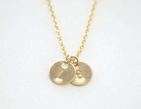 Teeny tiny 2 initial disc necklace - gold