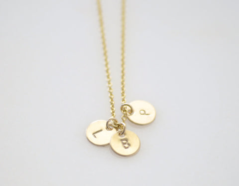 Tiny double initial necklace delicate gold charms necklace teeny tiny 3 initial disc necklace gold mozeypictures Gallery