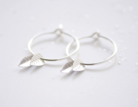 Double leaf hoops earrings - sterling silver