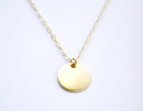 Gold coin necklace - solid 14K