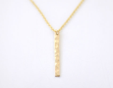Slice necklace - hammered gold fill
