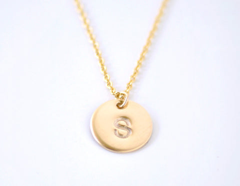 Gold Initial necklace - gold filled