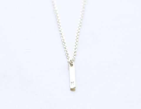 Tiny Slice Initial necklace - silver