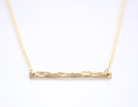 Gold Bar necklace - hammered