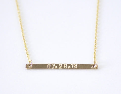 Personalized Gold Bar necklace - no. 1