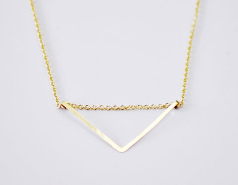 Gold fill chevron necklace