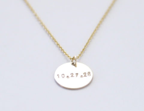 Personalized Coin necklace - gold filled