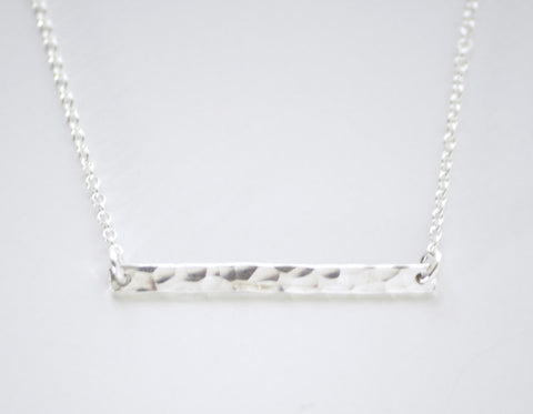 Silver bar necklace - hammered