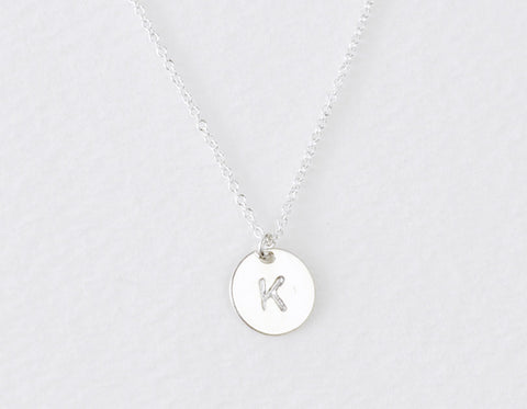Sterling Initial disc necklace