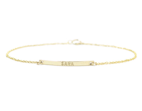Personalized bar bracelet - gold filled