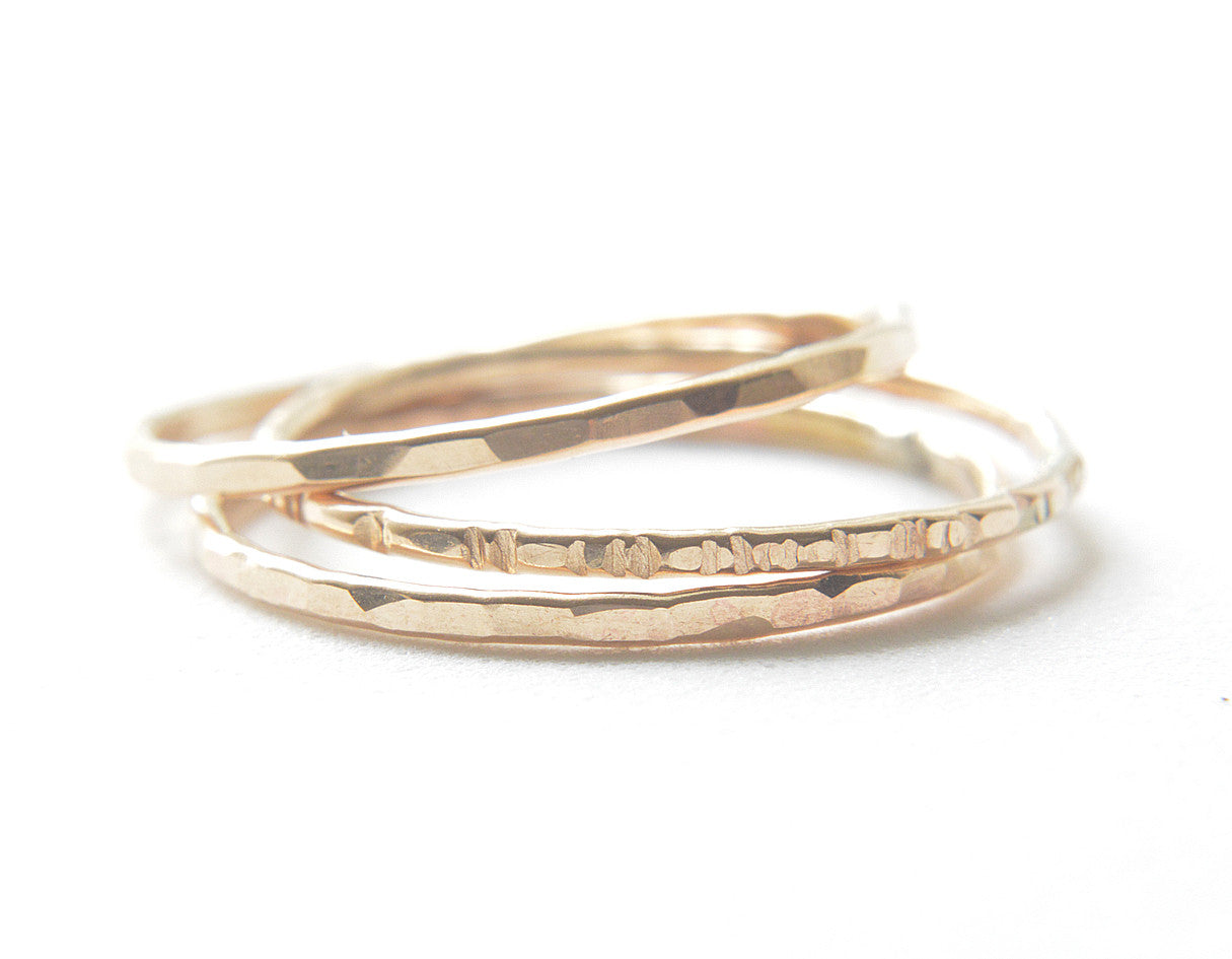 14k yellow gold rings, stacking rings, thin rings, karat1424