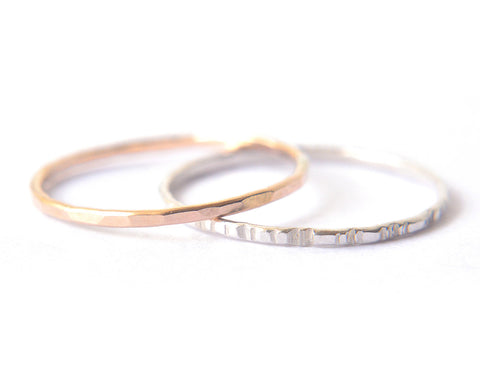 Signe 1mm - 2 stacking rings - gold & silver
