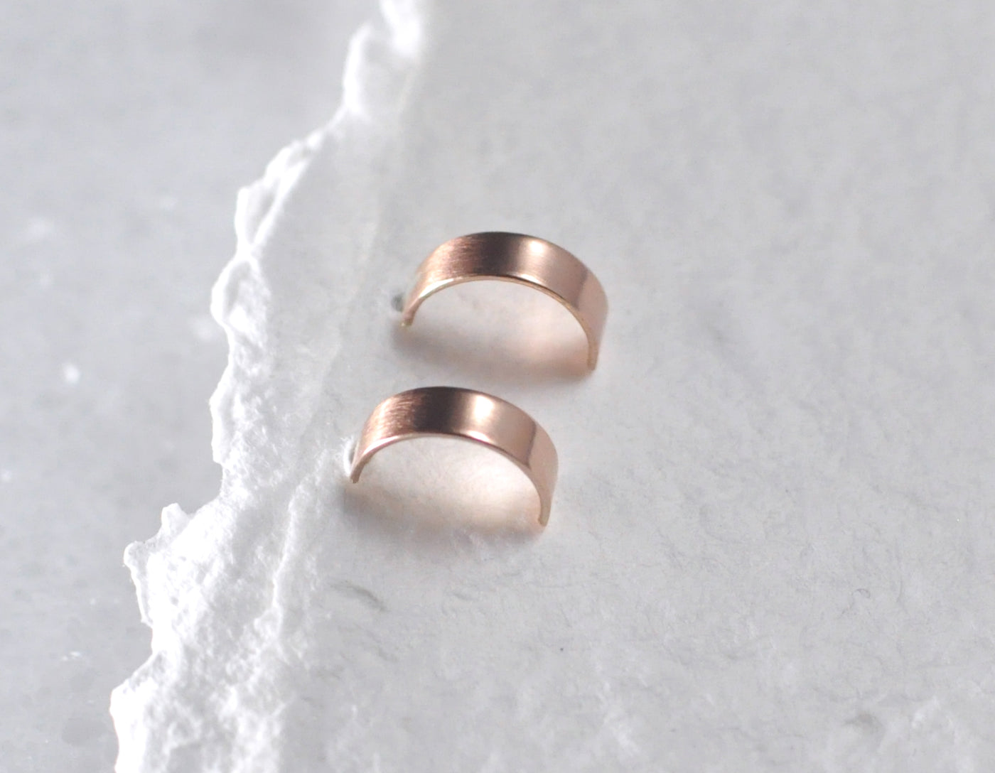 Cyra 3 mm - 14K Rose Gold Flat Hoops