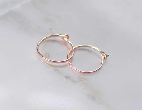 rose gold hoops, solid rose gold, small hammered earrings, 14k earrings, karat1424