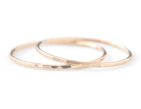 2 Silk rings - 14K Solid Yellow Gold 0.8mm