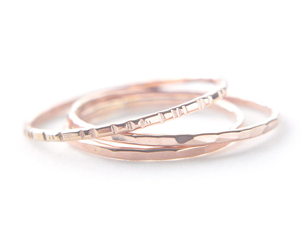 14k rose gold rings, thin band, stacking ring set, karat1424