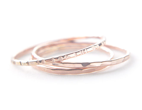 Signe 1mm - Three 14K Rose Gold rings