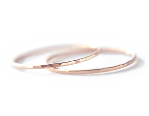 2 Silk rings - 14K Solid Rose Gold 0.8mm