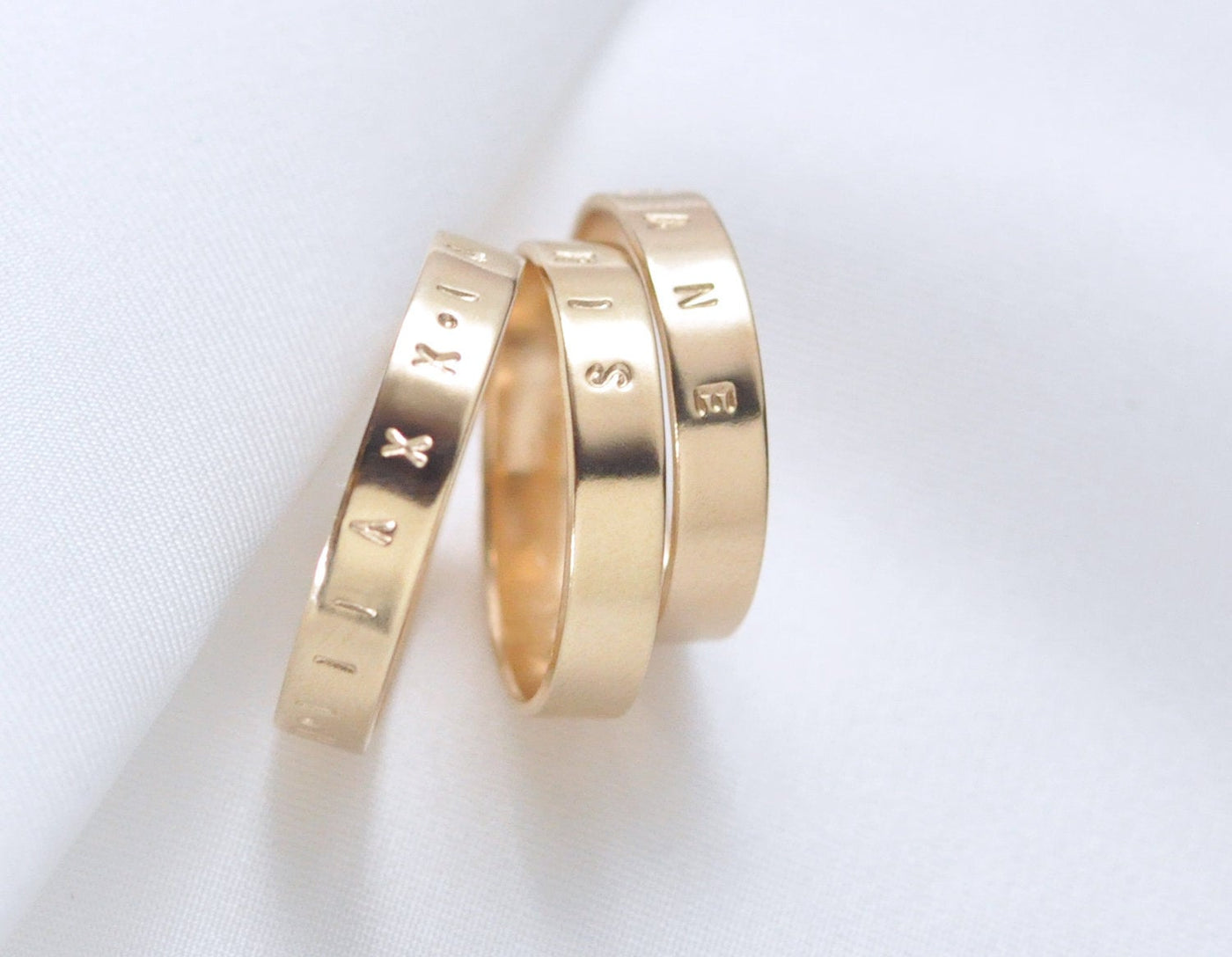 engraved 14 karat gold wedding ring, customized 14 kt gold wedding band, karat1424