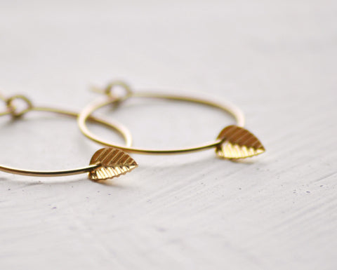 Tiny leaf hoops earrings - gold filled
