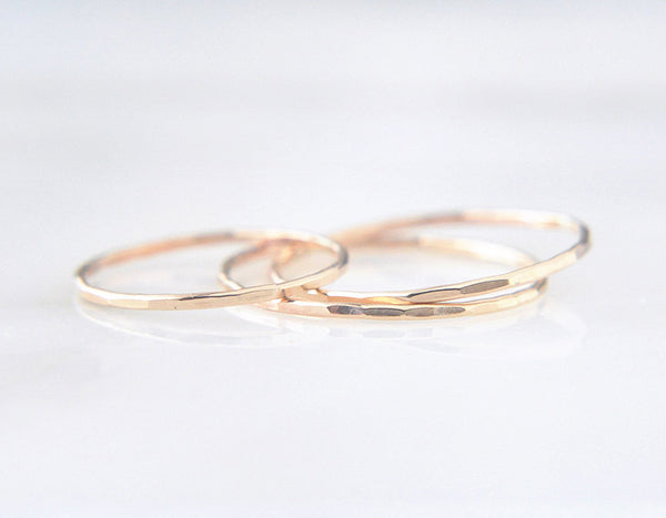14k yellow gold ring, stacking ring in gold, dainty ring set in gold, karat1424