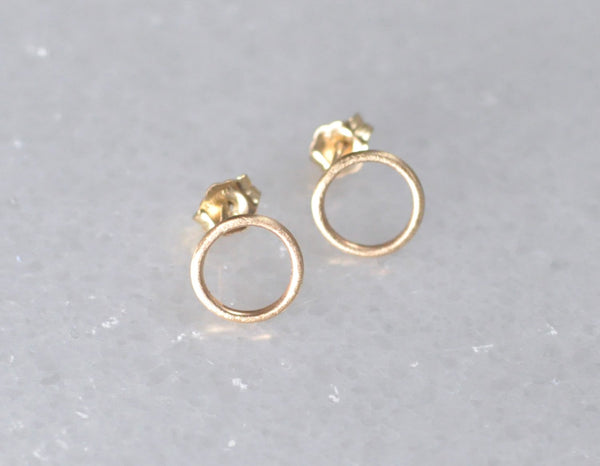 14k solid yellow gold earrings, round earrings, open circle earrings