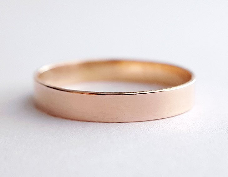 rose gold ring, plain band, stacking ring