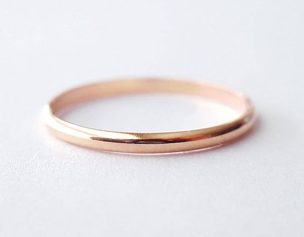 simple ring, minimalist ring, pink gold band, rose gold ring, karat1424