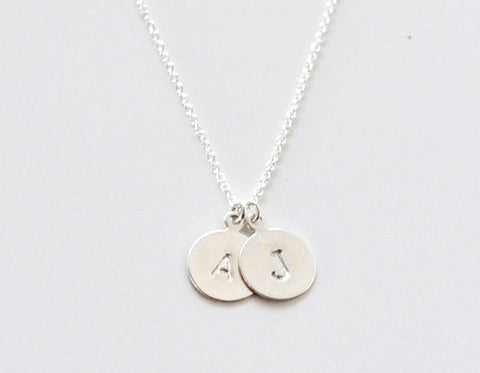 2 Sterling Initial Tags necklace