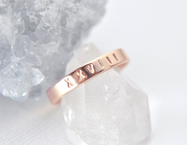 Aven 3 mm Personalized - 14K Rose Gold Ring