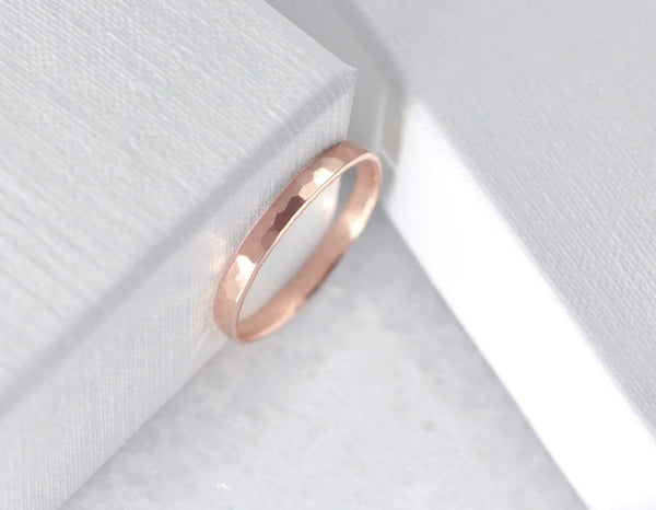 Aven 2 mm Faceted - 14K Rose Gold Faceted Ring
