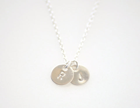 Teeny tiny 2 initial disc necklace - silver