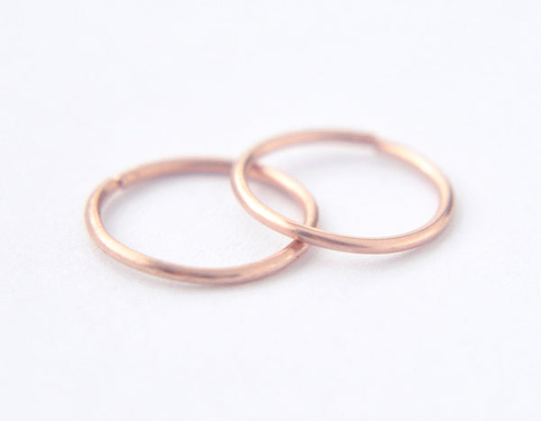 14k rose gold earrings, delicate hoops, round earrings, minimalist earrings, karat1424