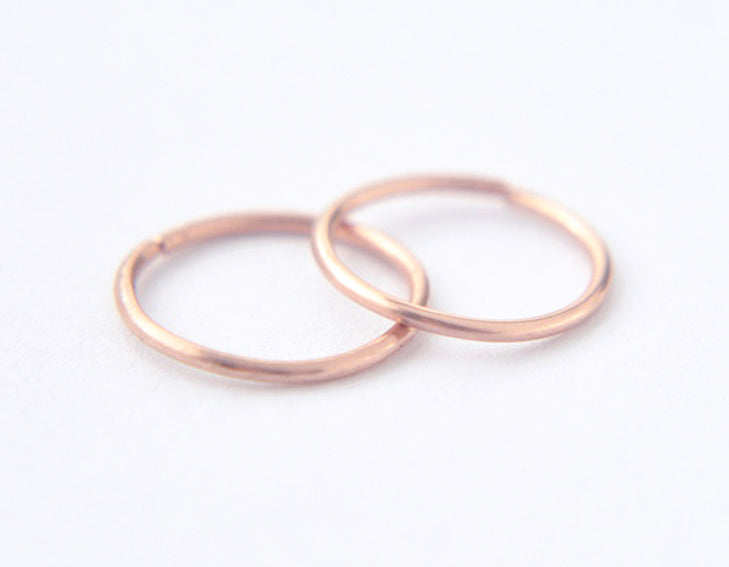 14k rose gold earrings, delicate hoops, round earrings, minimalist earrings
