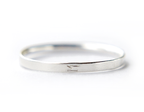 Sideways Initial ring - sterling silver