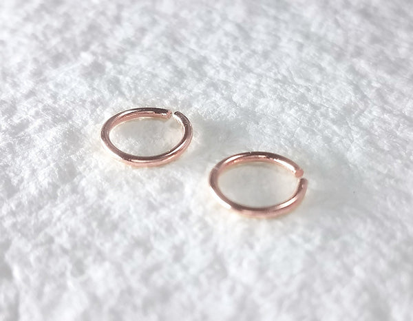 14k rose gold earrings, sleeper earrings, tiny hoops, delicate earrings