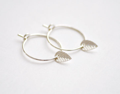 Tiny leaf hoops earrings - sterling silver