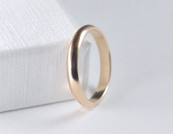 3mm gold wedding ban for men, unisex gold wedding ring, 14 karat wedding band