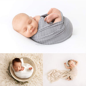 First Landings Baby Wrap | Set of 3 Premium Knit Wraps | Newborn Photography Props for Boy or Girl Photoshoot | Unisex Newborn Receiving Blankets or Baby Swaddle Wrap