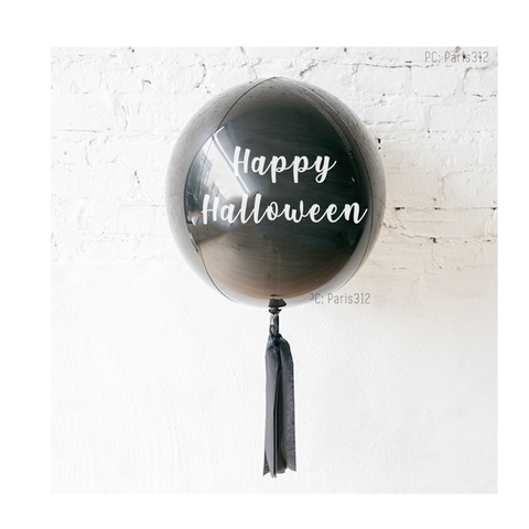 Black Orbz Balloon with Happy Halloween