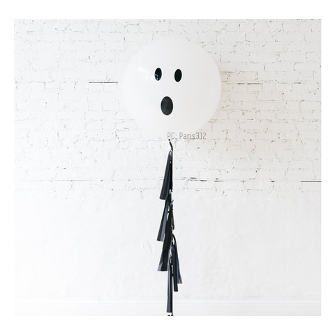 36 inch Perfectly Round Ghost Balloon with Tassel Garland