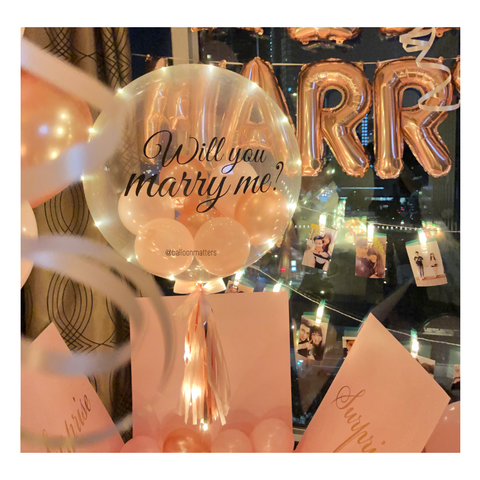 Rose Gold Pink Personalised Balloon Surprise Box