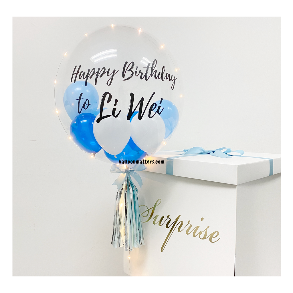 Blue Personalised Balloon Surprise Box