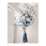36 inch Giant Blue and Silver Confetti Balloon