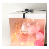Pink White Personalised Gender Reveal Balloon Surprise Box