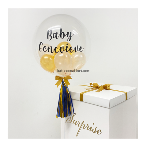 Gold Peach Personalised Balloon Surprise Box