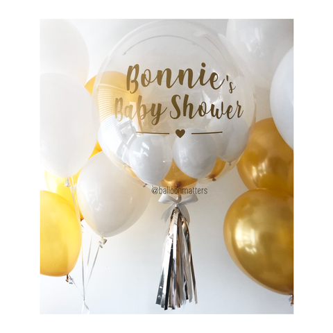 Gold White Bubble Balloon
