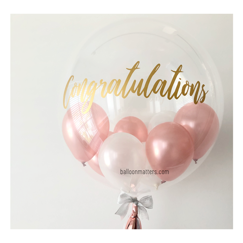 Rose Gold Congrats Bubble Balloon